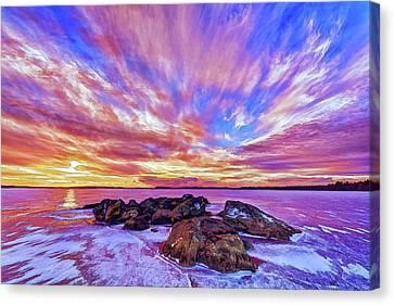 Painterly Canvas Print - Salmon Sunrise by ABeautifulSky Photography by Bill Caldwell
