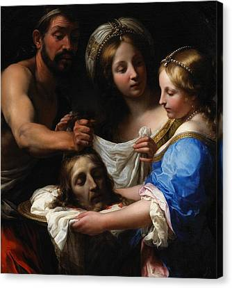 Salome With The Head Of Saint John The Baptist Canvas Print by Onorio Marinari