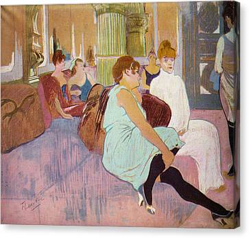 Salon In The Rue Des Moulins  Canvas Print