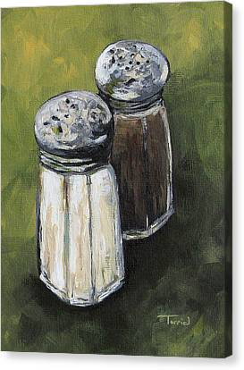 Salt And Pepper On Green Canvas Print by Torrie Smiley