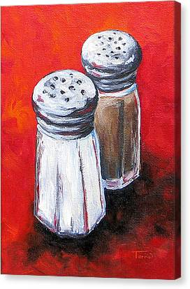 Salt And Pepper On Red Canvas Print by Torrie Smiley