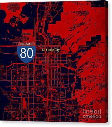 Salt Lake City Map, Nterstate 80 Canvas Print