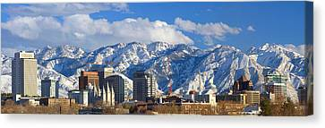 Salt Lake City Skyline Canvas Print by Utah Images