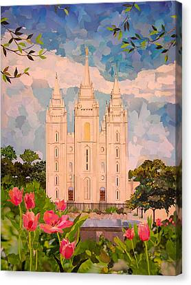 Religious Canvas Print - Salt Lake City Temple by Robin Birrell