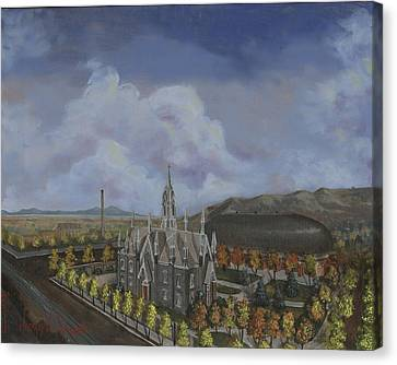 Salt Lake City Temple Square Nineteen Twelve Left Panel Canvas Print by Jeff Brimley