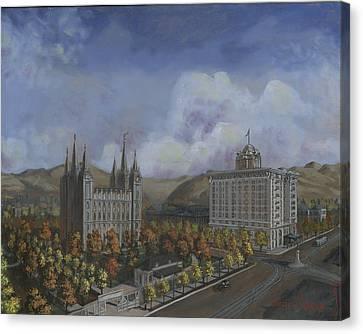 Salt Lake City Temple Square Nineteen Twelve Right Panel Canvas Print