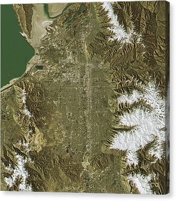 Salt Lake City Topographic Map Natural Color Top View Canvas Print by Frank Ramspott
