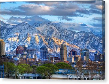 Snowy Night Night Canvas Print - Salt Lake City Utah Usa by Utah Images