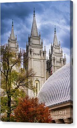 Canvas Print featuring the photograph Salt Lake Lds Temple And Tabernacle - Utah by Gary Whitton