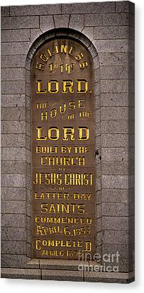 Salt Lake Lds Temple Dedication Plaque Close-up Canvas Print by Gary Whitton