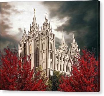 Salt Lake Temple - A Light In The Storm - Cropped Canvas Print by Brent Borup