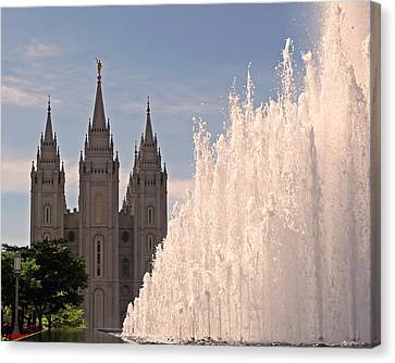 Canvas Print featuring the photograph Salt Lake Temple And Fountain by Rona Black
