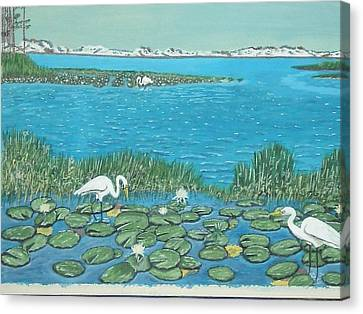 Salt Marsh Egrets Canvas Print by Hilda and Jose Garrancho