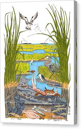 Salt Marsh Canvas Print by John Meszaros