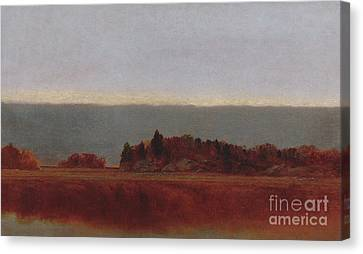 Rivers In The Fall Canvas Print - Salt Meadow In October, 1872 by John Frederick Kensett