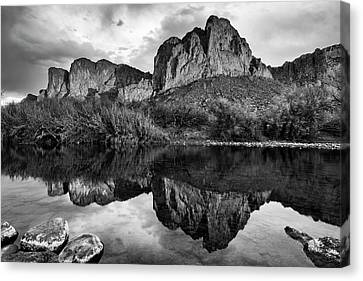 Canvas Print featuring the photograph Salt River Reflections In Black And White by Dave Dilli