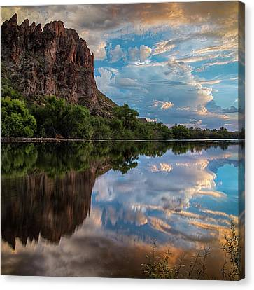 Canvas Print featuring the photograph Salt River Sunset Reflections by Dave Dilli