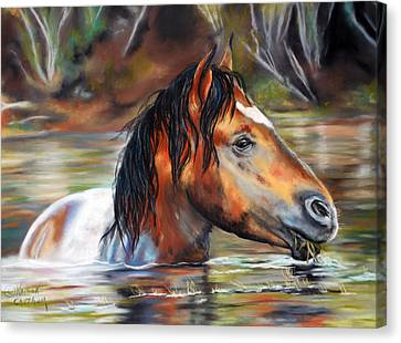 Canvas Print featuring the pastel Salt River Tango by Karen Kennedy Chatham