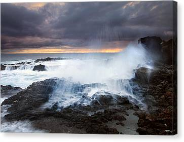 Blowhole Canvas Print - Salt Spray Sunset by Mike  Dawson