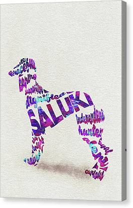 Canvas Print featuring the painting Saluki Dog Watercolor Painting / Typographic Art by Inspirowl Design