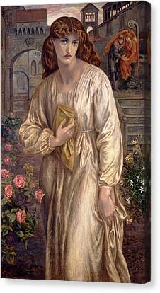 Salutation Of Beatrice Canvas Print by Dante Gabriel Rossetti