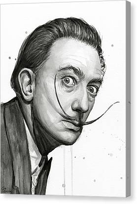 Salvador Dali Portrait Black And White Watercolor Canvas Print