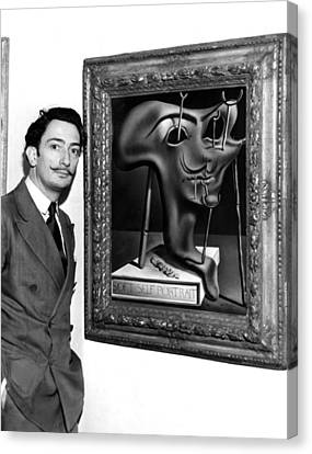 Salvador Dali, Showing Off His Piece Canvas Print by Everett