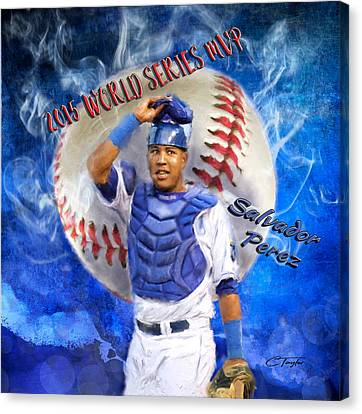 Salvador Perez 2015 World Series Mvp Canvas Print by Colleen Taylor