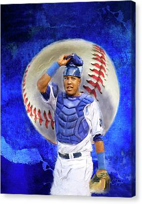 Canvas Print featuring the mixed media Salvador Perez-kc Royals by Colleen Taylor