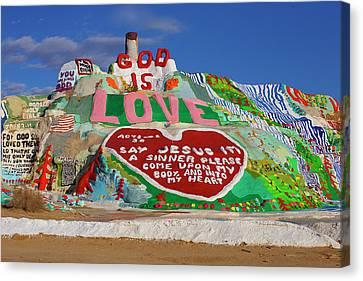 Canvas Print featuring the photograph Salvation Mountain by Matthew Bamberg