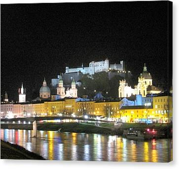 Salzburg At Night Canvas Print by Betty Buller Whitehead