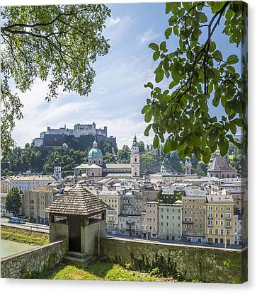 Salzburg Gorgeous Old Town With Citywall Canvas Print by Melanie Viola