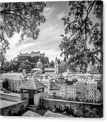 Salzburg Gorgeous Old Town With Citywall Monochrome Canvas Print by Melanie Viola