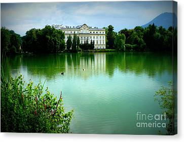 Salzburg Home With Lake Canvas Print by Carol Groenen