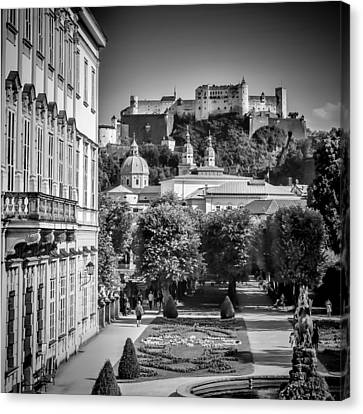 Salzburg Wonderful View To Salzburg Fortress Monochrome Canvas Print
