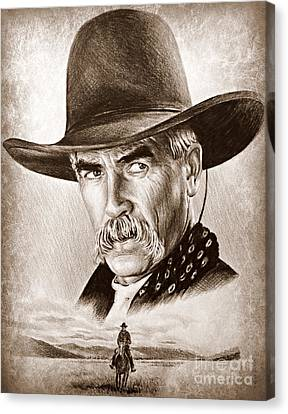 Sam Elliot The Lone Rider Canvas Print by Andrew Read