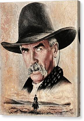 Sam Elliot The Lone Rider Sepia Canvas Print