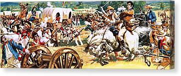 Sam Houston On A White Horse Charging The Mexicans Canvas Print by CL Doughty