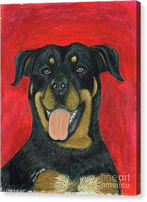 Sam The Rottewieler Canvas Print by Ania M Milo