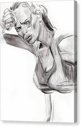 Canvas Print featuring the drawing Samantha by Michael McKenzie