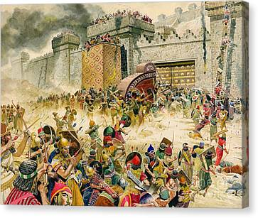 Samaria Falling To The Assyrians Canvas Print by Don Lawrence