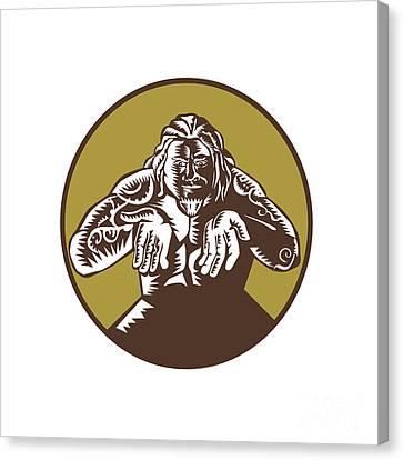Samoan God Tagaloa Arms Out Circle Woodcut Canvas Print by Aloysius Patrimonio