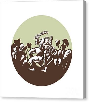 Samoan Losi Club Nifo'oti Weapon Circle Woodcut Canvas Print by Aloysius Patrimonio