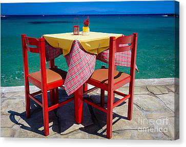 Samos Table Canvas Print by Inge Johnsson