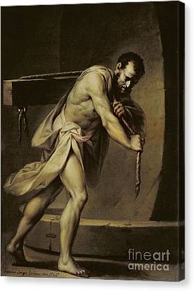Samson In The Treadmill Canvas Print by Giacomo Zampa