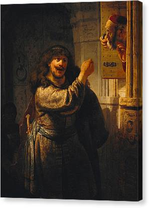 Samson Threatening His Father-in-law Canvas Print by Rembrandt