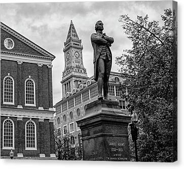 Samuel Adams Statue Fanueil Hall Boston Ma Black And White Canvas Print by Toby McGuire