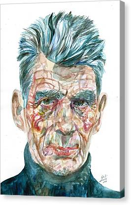Canvas Print featuring the painting Samuel Beckett Watercolor Portrait.10 by Fabrizio Cassetta