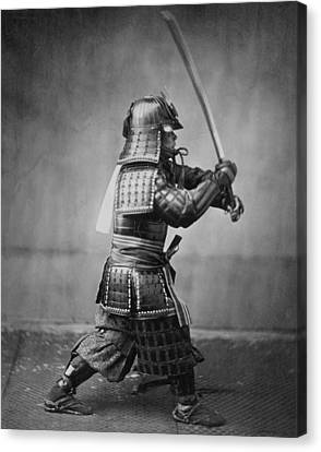 Samurai Brandishing His Sword - Japanese History Canvas Print by War Is Hell Store