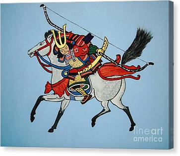 Canvas Print featuring the painting Samurai Rider by Stephanie Moore